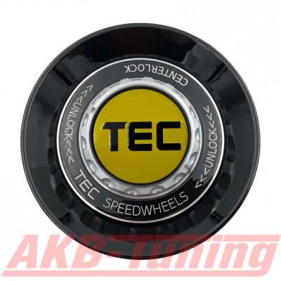 TEC ALU-Zentralverschluss-Deckel in Schwarz-Glanz / Kranz schwarz / Logo gelb-schwarz für Alufelge GT8