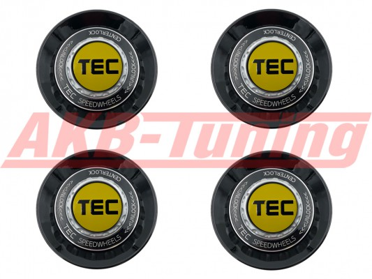 TEC ALU-Zentralverschluss-Deckel-Set in Schwarz-Glanz / Kranz schwarz / Logo gelb-schwarz für Alufelge GT8