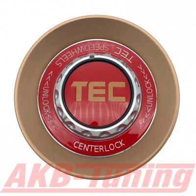 TEC ALU-Zentralverschluss-Deckel in Rosé-Gold / Kranz rot / Logo rot-gold für Alufelge GT8