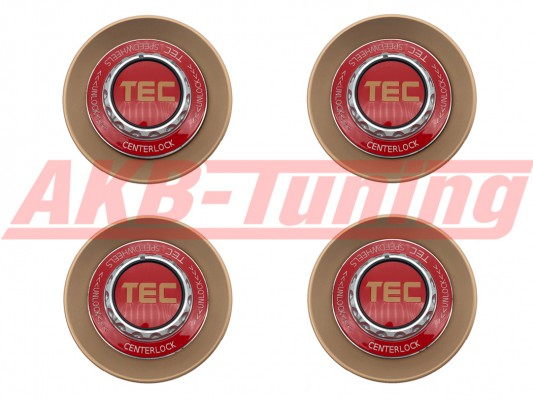 TEC ALU-Zentralverschluss-Deckel-Set in Rosé-Gold / Kranz rot / Logo rot-gold für Alufelge GT8