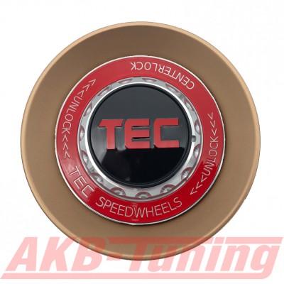 TEC ALU-Zentralverschluss-Deckel in Rosé-Gold / Kranz rot / Logo schwarz-rot für Alufelge GT8