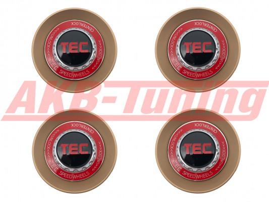 TEC ALU-Zentralverschluss-Deckel-Set in Rosé-Gold / Kranz rot / Logo schwarz-rot für Alufelge GT8