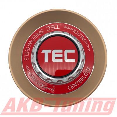 TEC ALU-Zentralverschluss-Deckel in Rosé-Gold / Kranz rot / Logo rot-silber für Alufelge GT8