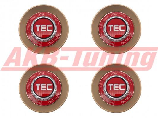 TEC ALU-Zentralverschluss-Deckel-Set in Rosé-Gold / Kranz rot / Logo rot-silber für Alufelge GT8