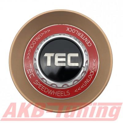 TEC ALU-Zentralverschluss-Deckel in Rosé-Gold / Kranz rot / Logo schwarz-silber für Alufelge GT8