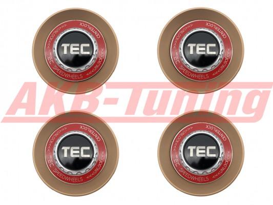 TEC ALU-Zentralverschluss-Deckel-Set in Rosé-Gold / Kranz rot / Logo schwarz-silber für Alufelge GT8
