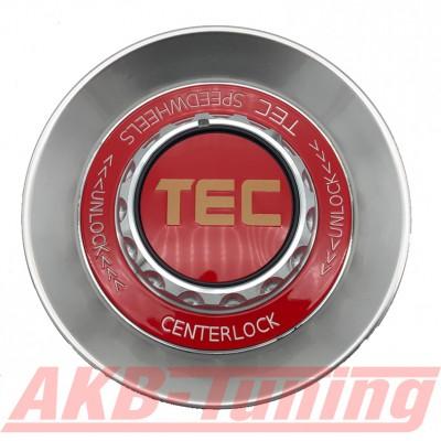 TEC ALU-Zentralverschluss-Deckel in Hyper-Silber / Kranz rot / Logo rot-gold für Alufelge GT8