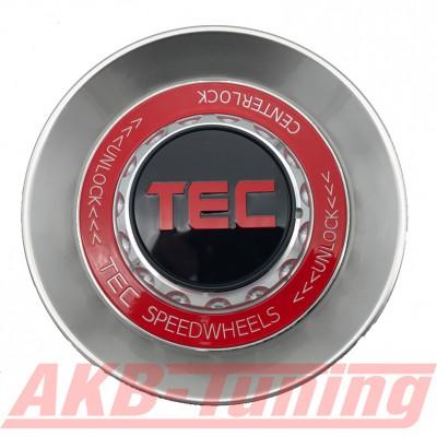 TEC ALU-Zentralverschluss-Deckel in Hyper-Silber / Kranz rot / Logo schwarz-rot für Alufelge GT8