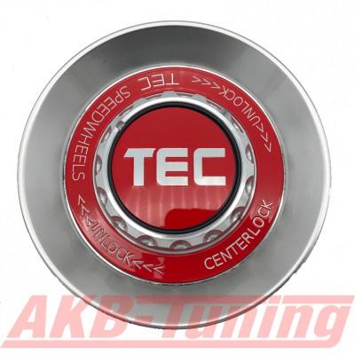 TEC ALU-Zentralverschluss-Deckel in Hyper-Silber / Kranz rot / Logo rot-silber für Alufelge GT8