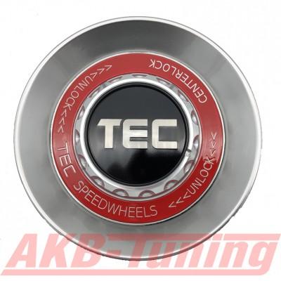 TEC ALU-Zentralverschluss-Deckel in Hyper-Silber / Kranz rot / Logo schwarz-silber für Alufelge GT8