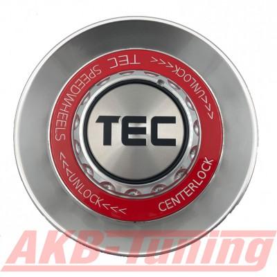 TEC ALU-Zentralverschluss-Deckel in Hyper-Silber / Kranz rot / Logo silber-schwarz für Alufelge GT8