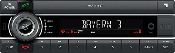 """AXION """"MCR 1116 BT"""" Laufwerkloses 1DIN Autoradio mit USB/AUX/Bluetooth"""