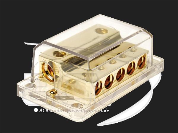 ACV Verteilerblock 2 x 35 - 50 mm² Eingang 5 x 20 mm² Ausgang (gold)