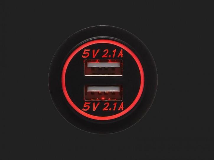 ACV USB Ladeadapter 12V/24V 4.2A zur Installation mit roter Beleuchtung