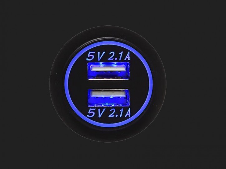 ACV USB Ladeadapter 12V/24V 4.2A zur Installation mit blauer Beleuchtung