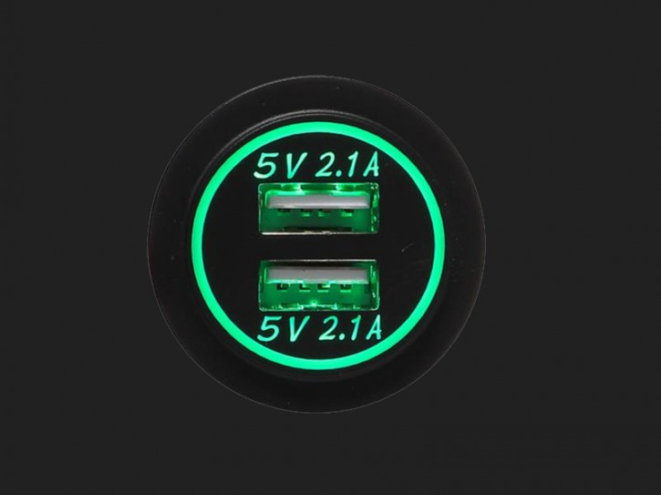 ACV USB Ladeadapter 12V/24V 4.2A zur Installation mit grüner Beleuchtung