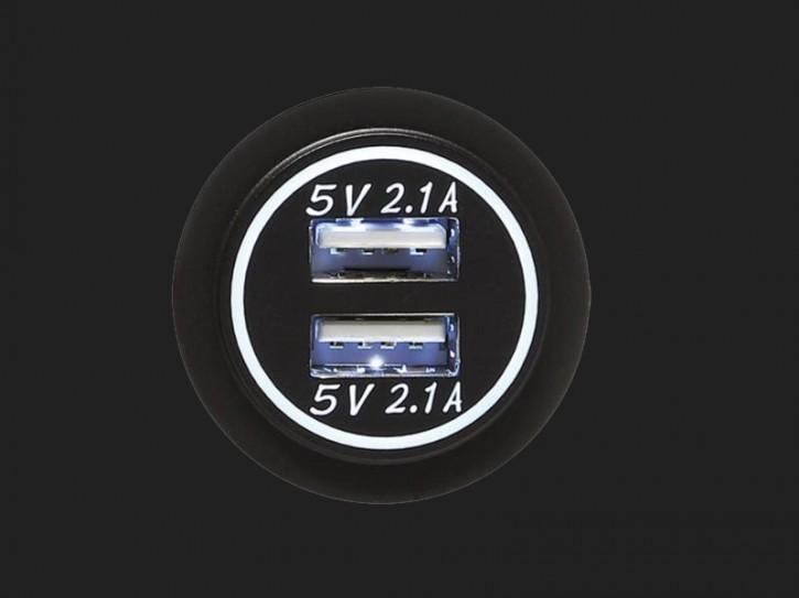 ACV USB Ladeadapter 12V/24V 4.2A zur Installation mit weisser Beleuchtung
