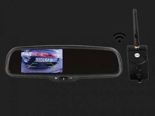 """ACV 4,3"""" (10,9cm) Spiegelmonitor (12V) universal 16:9 (2.4GHz digitaler Videotransmitter +1 RFK Eingang)"""