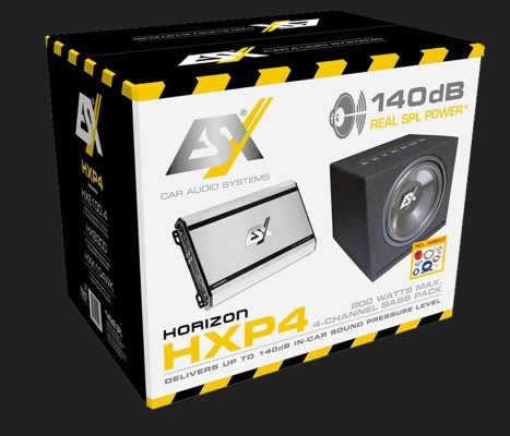 """ESX """"HORIZON HXP4"""" 4-Kanal Basspaket, 800 Watt max., SPL bis zu 140 dB"""