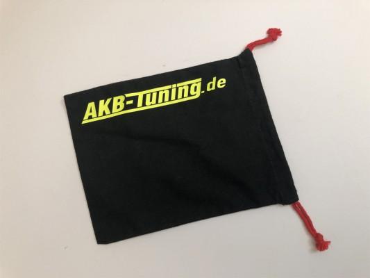 AKB-Tuning schwarzer Schraubenbeutel für Radbolzen Schrift in NEON GELB