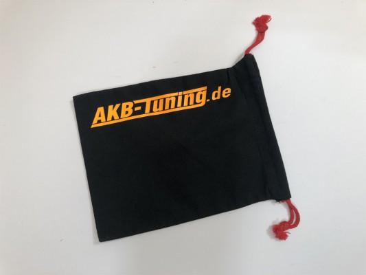 AKB-Tuning schwarzer Schraubenbeutel für Radbolzen Schrift in NEON ORANGE