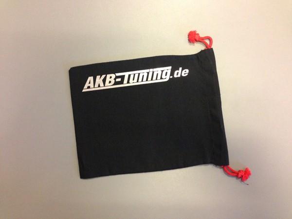 AKB-Tuning schwarzer Schraubenbeutel für Radbolzen Schrift in SILBER glänzend