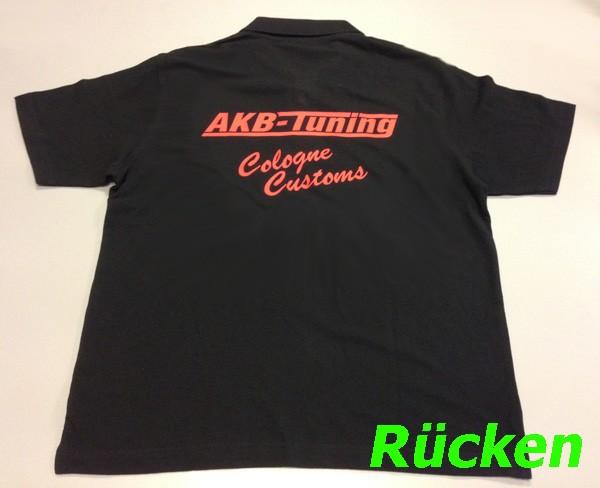 AKB-Tuning Teamwear Polo-Shirt in schwarz mit rotem Logo (Größe S)