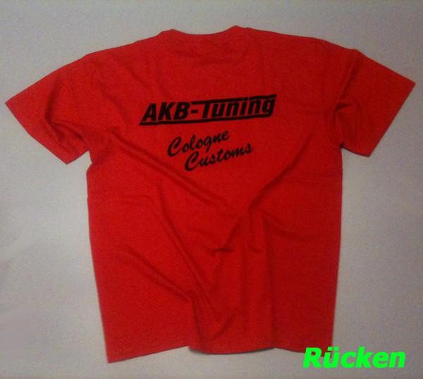 AKB-Tuning Teamwear T-Shirt in rot mit schwarzem Logo (Größe S)