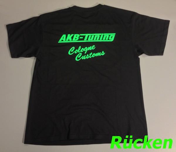 AKB-Tuning Teamwear T-Shirt in schwarz mit neon grünem Logo (Größe S)