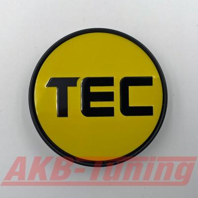 TEC Nabenkappe in gelb / Logo schwarz für GT2 EVO, GT6 EVO, GT7, GT8, GT-EVO, GT-EVO-R