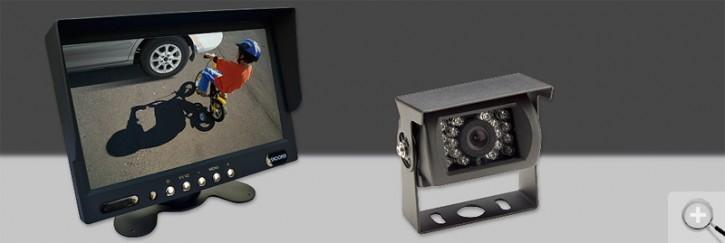 """Snooper 7"""" (17,8cm) TFT LCD-Monitor inkl. feststehender Farb-Rückfahrkamera in schwarz 12/24V"""
