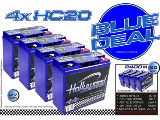 """Hollywood HIGH CURRENT 12V AGM Batterienset Blue Deal """"HC 20BD"""" 80Ah bis 2400 Watt"""