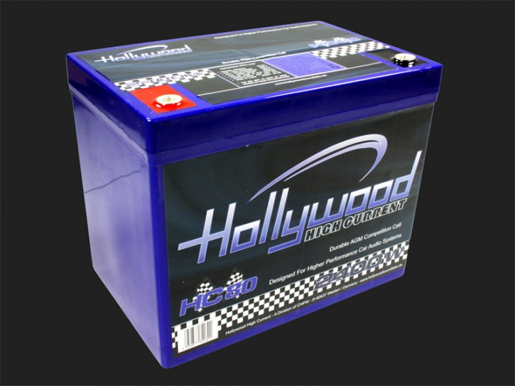 "Hollywood HIGH CURRENT 12V AGM Batterie ""HC 80"" 80Ah bis 2400 Watt"