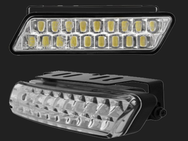 LITEC Tagfahrlicht mit 18 Super Flux Piranha LEDs (2 Stück) inkl. Tagfahrlichtmodul