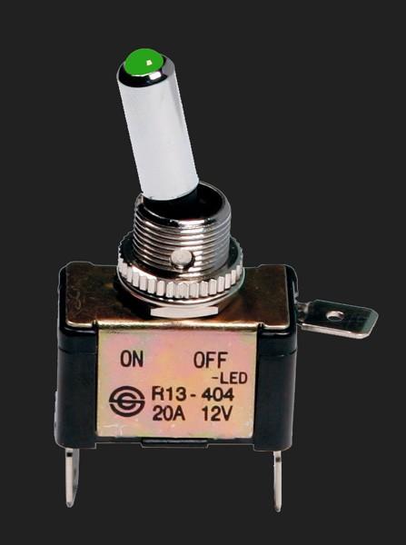 Pilot ALU Schalter mit grüner LED Beleuchtung 12V 20A