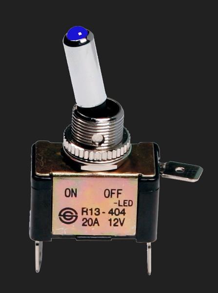 Pilot ALU Schalter mit blauer LED Beleuchtung 12V 20A