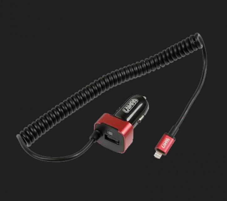 LAMPA USB Ladekabel Zig.stecker 12/24V (2,5) LIGHTNING/MICRO USB - FAST CHARGE (+1 extra USB)