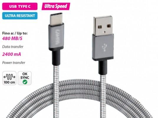 LAMPA USB TYP C Ladekabel - 100cm - silber -Metallummantellung