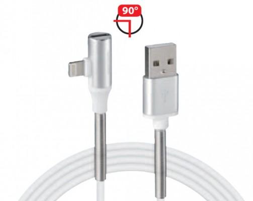 LAMPA USB->Lightning 90° Ladekabel mit Kopfhöreranschluss in weiß (100cm)