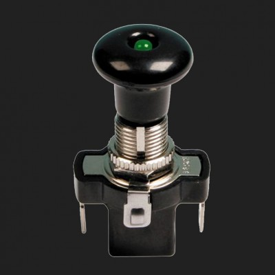 Lampa 12/24V Zugschalter mit grüner LED 10 Ampere