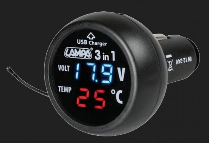 LAMPA 3in1 Spannungs- Temperaturanzeige und USB Ladestecker (2,1A) 12-24Volt