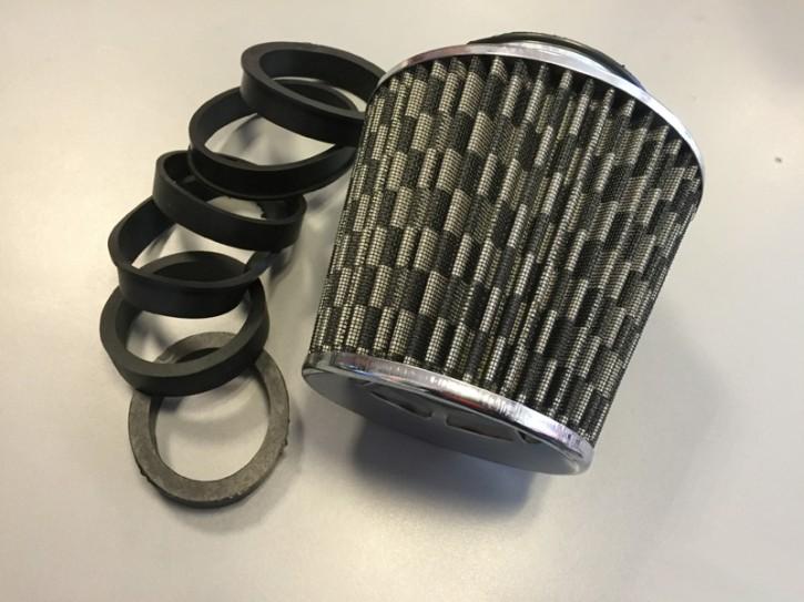 FK Sportluftfilter inkl. 6 Adapter silber (Abverkauf)