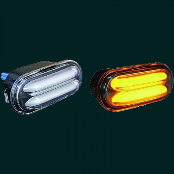 HD LED LIGHTBAR DESIGNBLINKER SET VW+SEAT ab 97 KLARGLAS/SCHWARZ