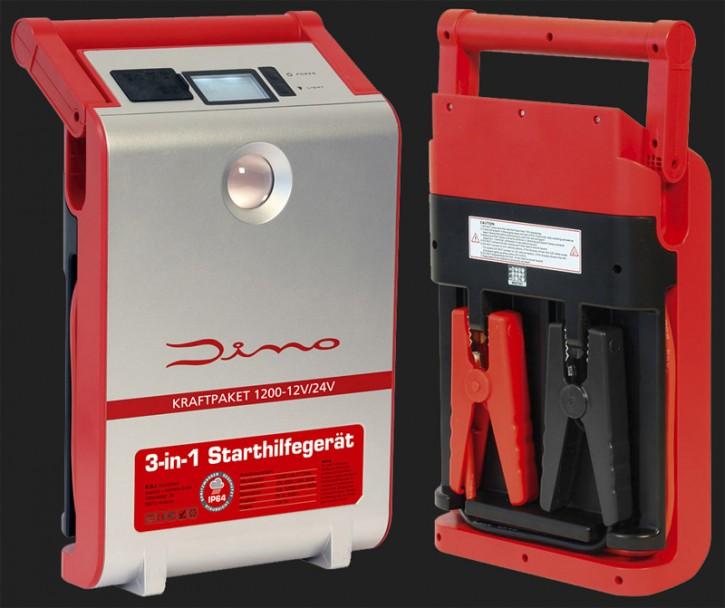 Dino 12V/24V Starthilfegerät mit Powerbank 30000mAh Batterie-Kapazität und 1200A Spitzenstrom