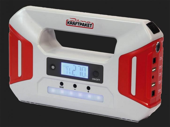 Dino 12V Starthilfegerät mit Powerbank 16000mAh Batterie-Kapazität und 600A Spitzenstrom