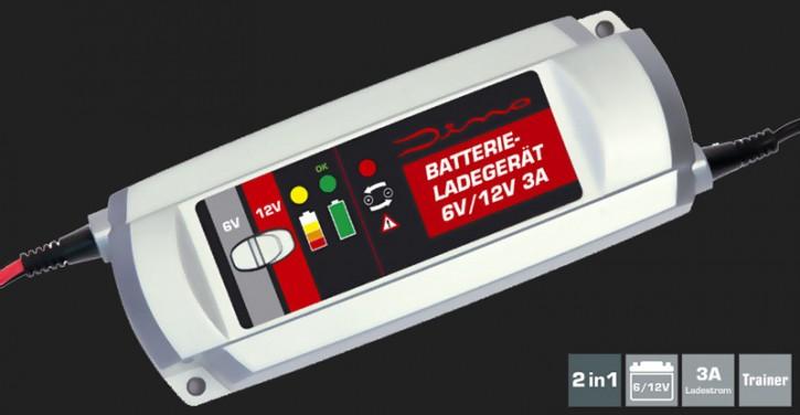 Dino Vollautomatisches 3-Schritt Batterieladegerät mit 3A Ladestrom für 6V/12V Batterien