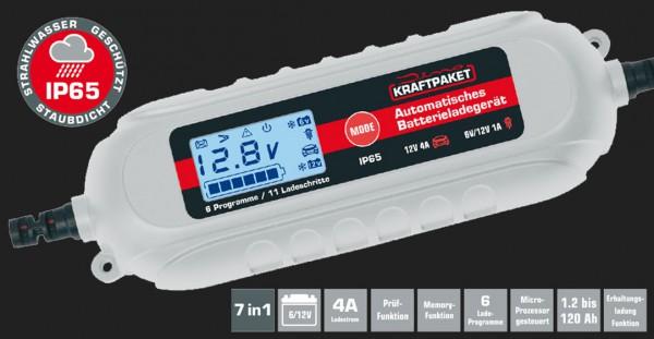 Dino Vollautomatisches 11-Schritt Batterieladegerät mit 4A Ladestrom für 6V/12V Batterien