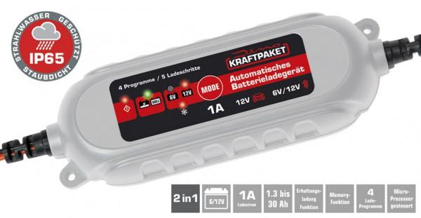 Dino Vollautomatisches 5-Schritt Batterie-Erhaltungsladegerät mit 1A Ladestrom für 6V/12V Batterien bis 30/Ah