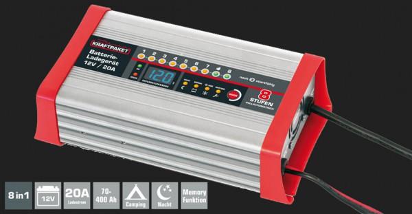 Dino Vollautomatisches 8-Schritt Batterieladegerät mit 20A Ladestrom für 12V Batterien inkl. Campingfunktion