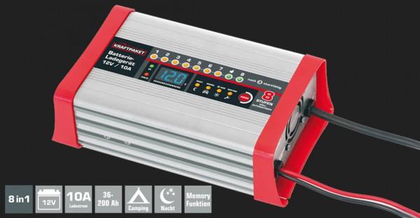 Dino Vollautomatisches 8-Schritt Batterieladegerät mit 10A Ladestrom für 12V Batterien inkl. Campingfunktion